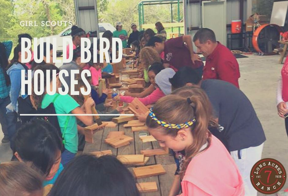Girl Scouts Building Bird Houses